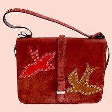 Valentino Garavani Red Handbag Suede Grommet Applique Designer Purse