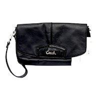 Classic Coach Leather / Patent Accent Clutch Wristlet Purse Strap