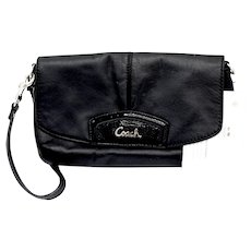 Classic Coach Leather / Patent Accent Clutch Wristlet Purse Strap