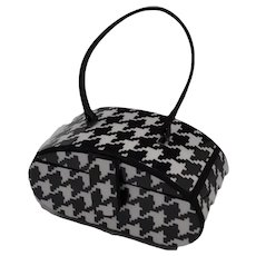 Vintage 70's Padded Vinyl Houndstooth Footed Evening Handbag