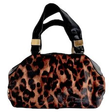 Italian Faux Leopard Fur Print Tote Handbag by Antonio Melani