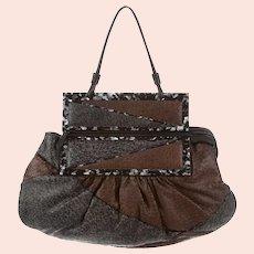 Designer FENDI Italy Calf Goat Skin Satchel Convertible Clutch Handbag