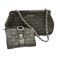 Classic Vera Bradley Quilted Gray Handbag Patent Leather Trim Wallet Set