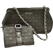 Classic Vera Bradley Quilted Gray Handbag Patent Leather Wallet Set