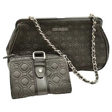 Classic Vera Bradley Quilted Gray Handbag Patent Leather Trim Wallet Set