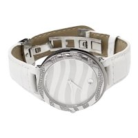 Movado Diamond Bezel Museum Watch Leather Deployment Band