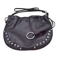 FURLA Designer Italian Black Calf Leather Nail Studs