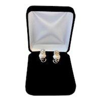 Earrings Yurman 0.72 Ct Diamond 18K Sterling Large Shrimp Pierced 15 Grams