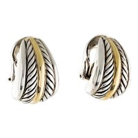 18K Gold Sterling Iconic David Yurman Large J Hook Cable Style Earrings