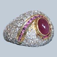Estate 18 K Ruby and Diamond Bombe Ring