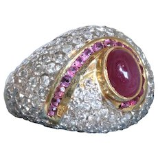 Estate 18 K Ruby and Diamond Bombe Ring