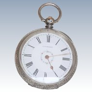 English Warranted JW Benson Sterling Pocket Watch 1886