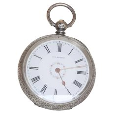 English Warranted JW Benson Sterling Pocket Watch 1886