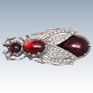 Estate Silver Garnet and Split Pearl Insect Brooch