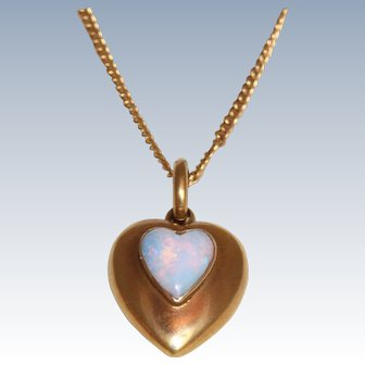 15 C 1896 Chester, England Opal Heart Pendant