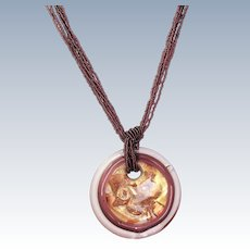 Estate Murano Glass Pendant with Glass Bead Necklace