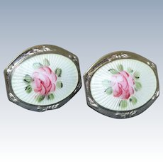 Vintage Sterling Guilloche Enamel Screwback Earrings