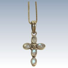 Estate Sterling Moonstone Cross