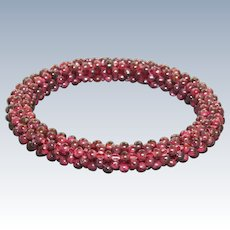 Garnet Victorian Braided Bangle