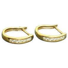 14 K Italy Diamond Hoop Earrings