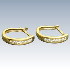 14 K Italy Diamond Hoop Earrings
