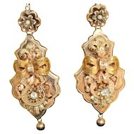 Victorian 12 K Diamond Seed Pearl Dangle Earrings