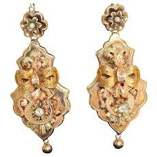Victorian 12 K Diamond Seed Pearl Dangle Earrings