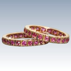 Estate 14 K Retro Ruby Guard Rings