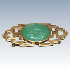 Estate 14 K Deco Carved Jade Brooch