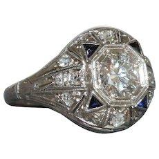 Estate Platinum Diamond and Sapphire Ring