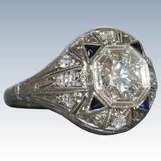 Estate Platinum Diamond and Sapphire Ring