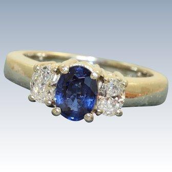 Estate 14 K Three Stone Diamond Sapphire Ring