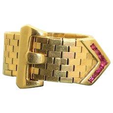 Estate 14 K Ruby Adjustable Buckle Ring