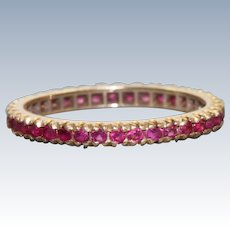 Estate 14 K Rose Gold Ruby Eternity Band