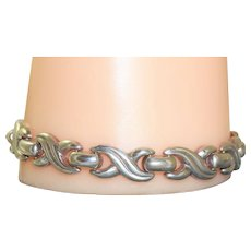 Estate Italian Sterling Silver 'X' Kisses Bracelet