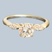 Estate 14KW 1.08 CT Diamond Solitaire Ring
