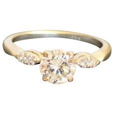 Estate 14KW 1.08 CT Diamond Solitaire Ring