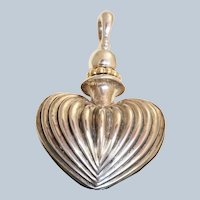 Estate Sterling and 18K Gold Fluted Perfume Pendant