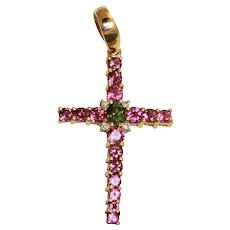 Estate 14K Tourmaline Diamond Cross