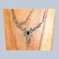 Vintage Sterling Onyx and Marcasite Winged Necklace