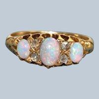 Early 20th Century 18CT Opal and Rose Cut Diamond Ring, Birmingham