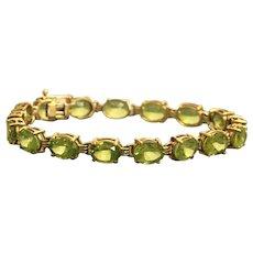 10K Peridot Line Bracelet