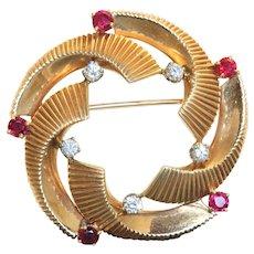 14K Retro Cartier Ruby and Diamond Turned Brooch