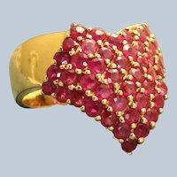 Estate 14K Ruby Chevron Cluster Ring