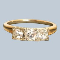 Estate 1 CTW Three Stone Old European Cut Diamond Ring