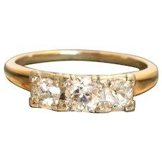 Estate 1 CTW Three Stone Old European Cut Diamond Ring