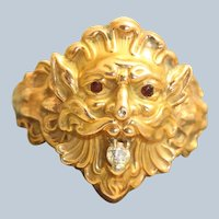 Estate 14K Lion with Diamond Ring