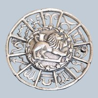 Estate Sterling Leo Horoscope Brooch