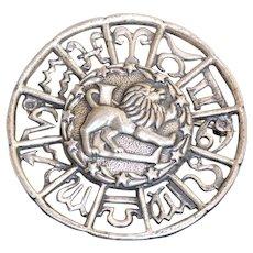 Estate Sterling Leo Horoscope Brooch
