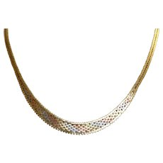 Estate 14K Tri Color Herringbone Necklace Italy